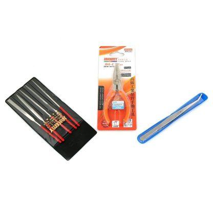 files, pliers and tweezers